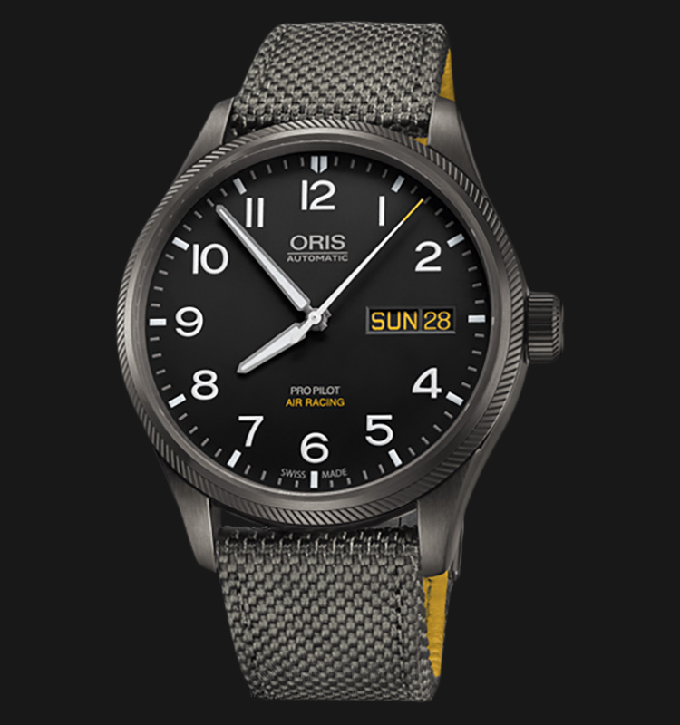 Oris ProPilot Air Racing 752 7698 4284 SET Black Dial Grey Nylon Strap Machtwatch