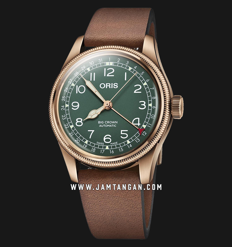 Oris Big Crown Pointer Date 754 7741 3167 LS 80th Anniversary Edition Green Dial Brown Leather Strap Machtwatch