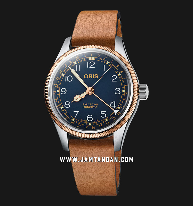 Oris Big Crown Pointer Date 754 7749 4365 LS Blue Dial Brown Leather Strap Machtwatch