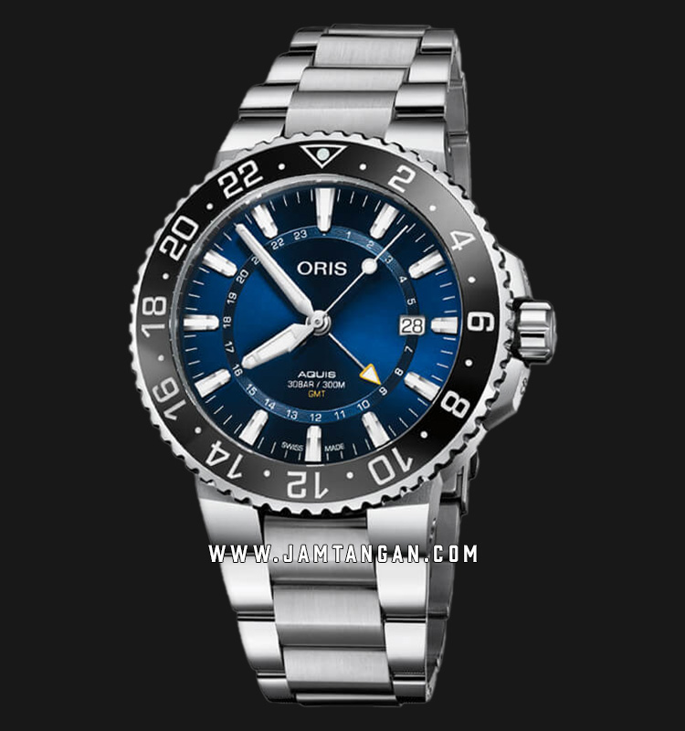 Oris Aquis GMT Date 798 7754 4135 MB Blue Dial Stainless Steel Strap Machtwatch