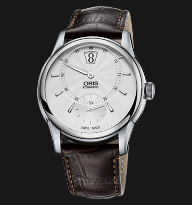 Oris Artelier Jumping Hour 917 7702 4051 LS Silver Dial Brown Leather Strap Machtwatch