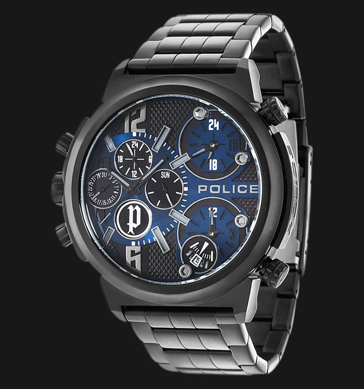 Police Python PL.13595JSB/03M Black Dial Day and Date Display Stainless Steel Machtwatch