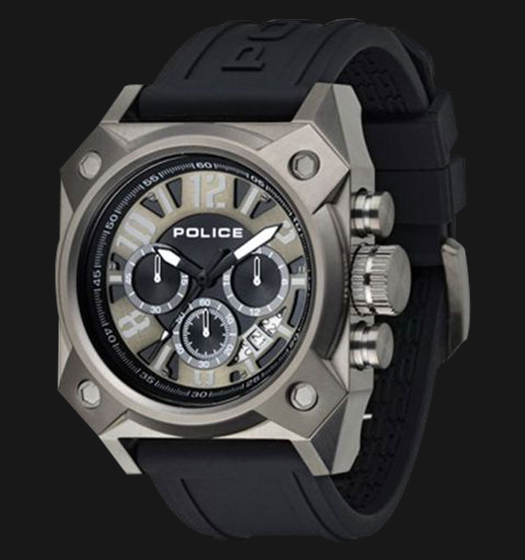 Police Fighter PL.13805JSU/02PP Chronograph Black Rubber and Leather Strap Machtwatch