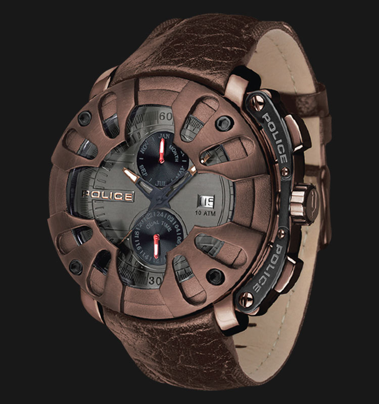Police Protector PL.13806JSBZ/61 Grey Dial Date and Month Display Brown Leather Machtwatch