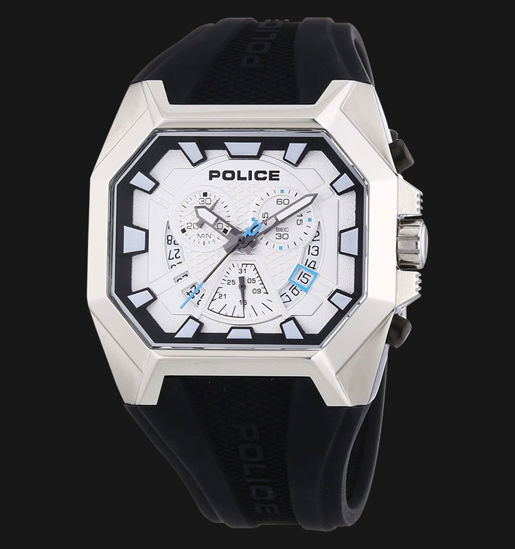 Police Hunter PL.13837JS/04 Chronograph White Dial Black Rubber Strap Machtwatch