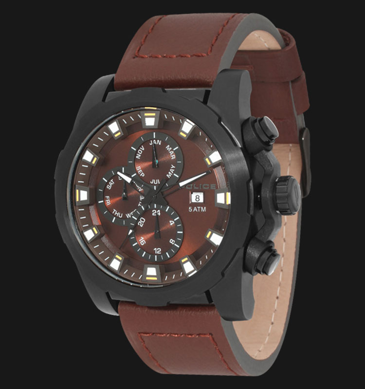 Police Speedster PL.13928JSB/12 Brown Dial Day and Date Display Brown Leather Machtwatch