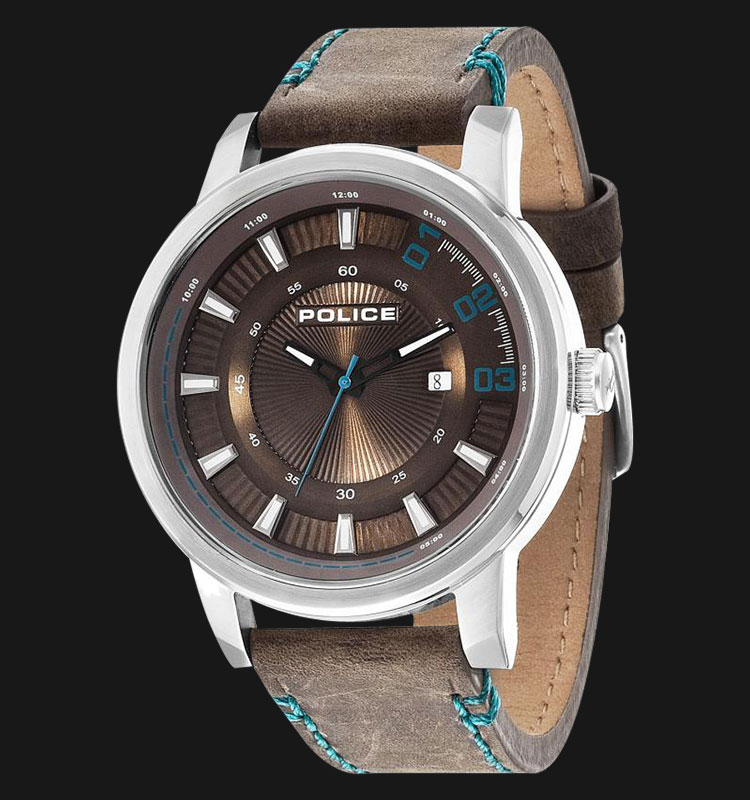 Police Sunset PL.14375JS/12 Brown Dial Date Display Brown Leather Machtwatch