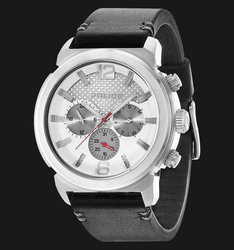 Police Concept PL.14377JS/04 Silver Dial Day and Date Display Black Leather Machtwatch