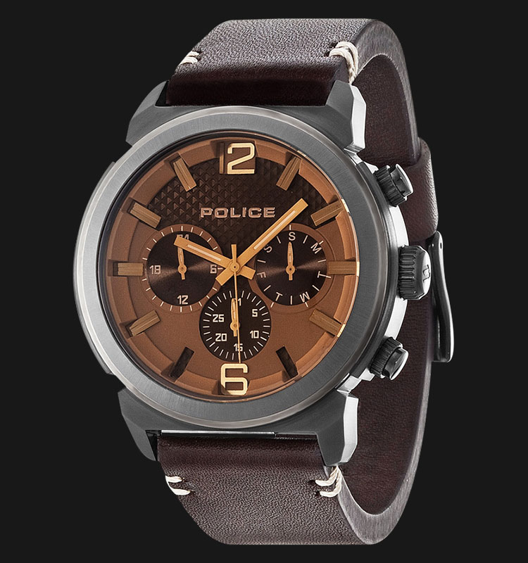 Police Concept PL.14377JSU/12 Brown Dial Day and Date Display Brown Leather Machtwatch