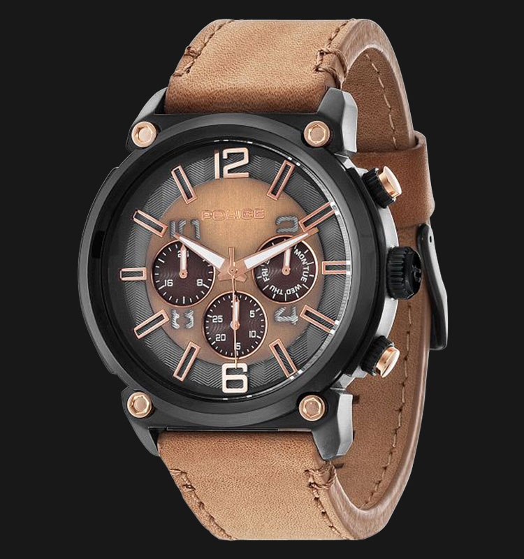 Police Armor PL.14378JSB/11 Brown Dial Day and Date Display Brown Leather Machtwatch