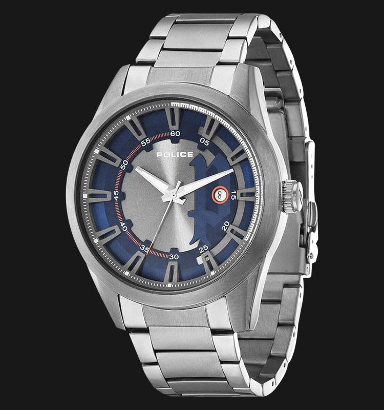 Police Squadron PL.14380JSU/03M Grey Blue Dial Date Display Stainless Steel Machtwatch