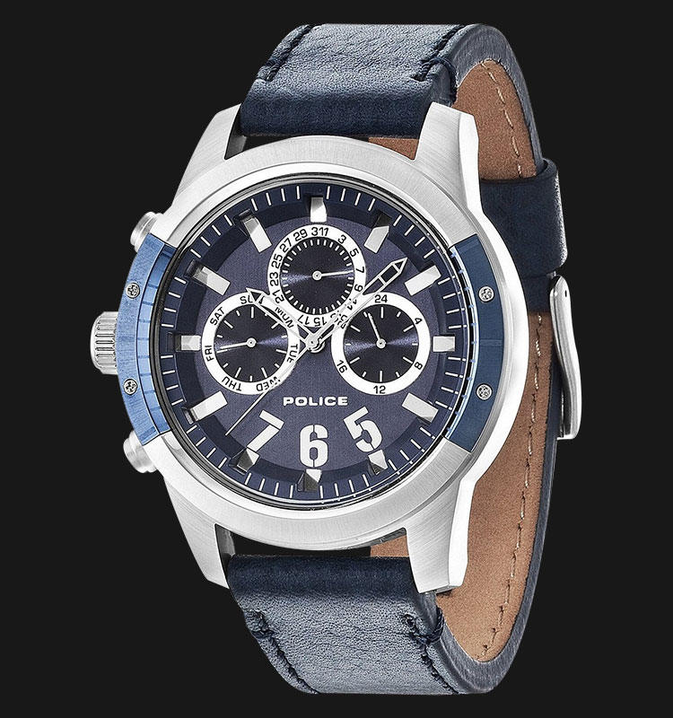 Police Kicker PL.14381JSTBL/03 Blue Dial Day and Date Display Blue Leather Machtwatch