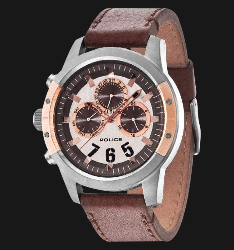 Police Kicker PL.14381JSUR/04 Silver Dial Day and Date Display Brown Leather Machtwatch