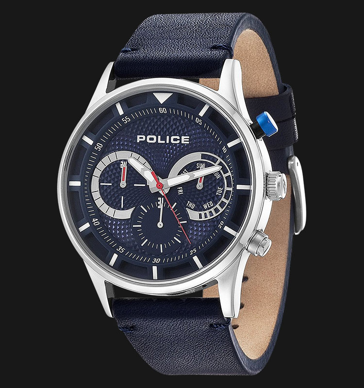 Police Driver PL.14383JS/03 Blue Dial Day and Date Display Blue Leather Machtwatch
