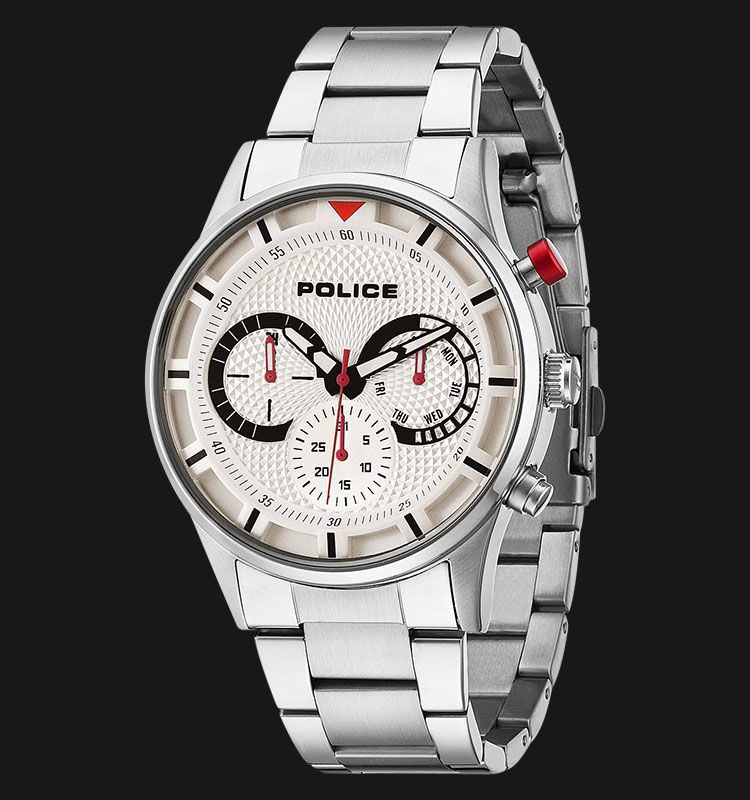 Police Driver PL.14383JS/04M White Dial Day and Date Display Stainless Steel Machtwatch