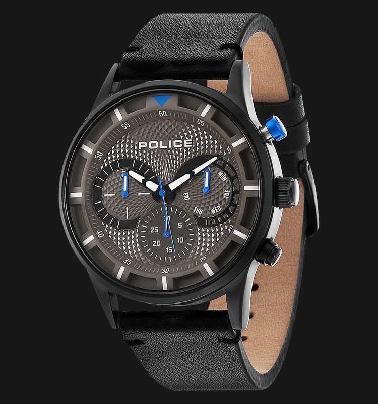 Police Driver PL.14383JSB/61 Black Dial Day and Date Display Black Leather Machtwatch