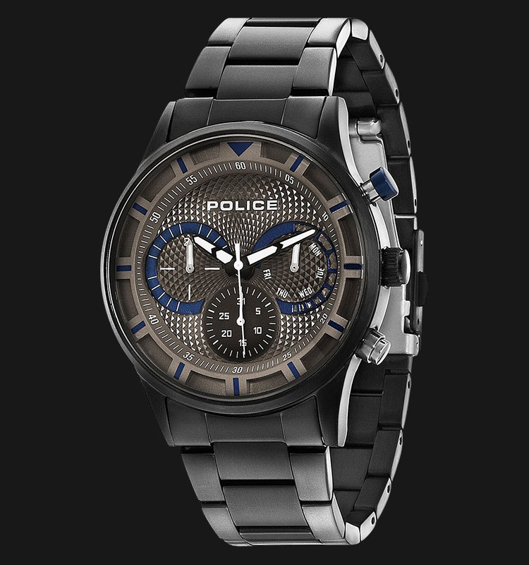Police Driver PL.14383JSU/61M Black Dial Day and Date Display Stainless Steel Machtwatch