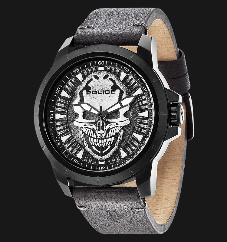 Police Reaper PL.14385JSB/57 Grey Skull Dial Grey Leather Strap and Skull Shirt Machtwatch