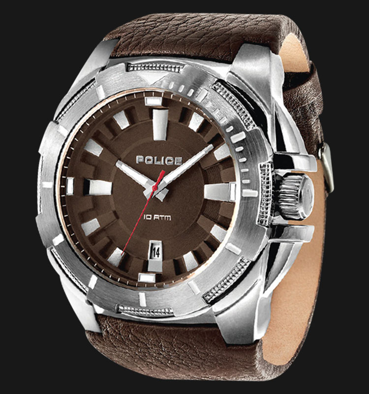 Police Gear PL.14420XS/12 Brown Dial Date Display Brown Leather Strap Machtwatch