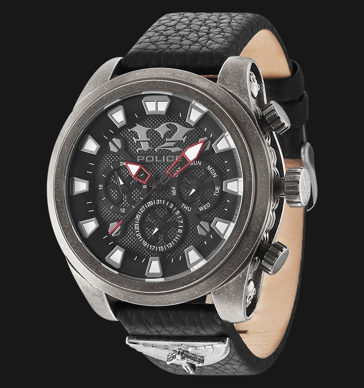Police Mephisto PL.14473JSQS/02 Black Dial Day and Date Display Black Leather Machtwatch