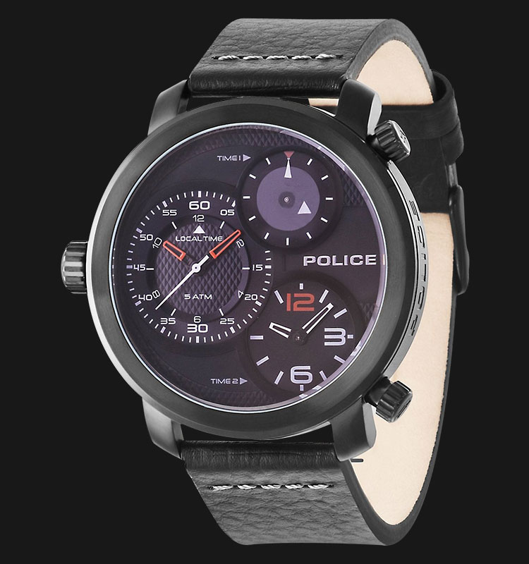 Police Mamba PL.14500XSB/02 Dual Time Black Dial Black Leather Strap Machtwatch