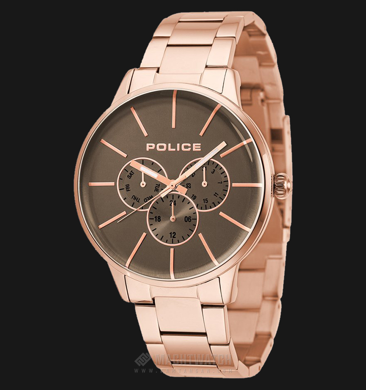 Police Swift PL.14999JSR/13M Grey Dial Ion Plating Case Rose Gold Stainless Steel Strap Machtwatch