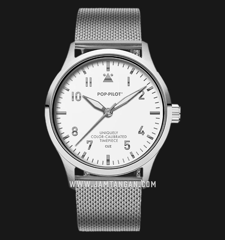 Pop-Pilot CUZ 36.5mm White Dial Stainless Steel Strap Machtwatch