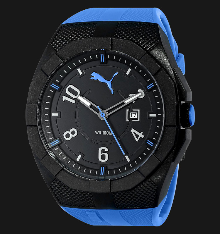 PUMA PU103501004 Jam Tangan Pria Iconic S Analog Display Blue Silicone Machtwatch