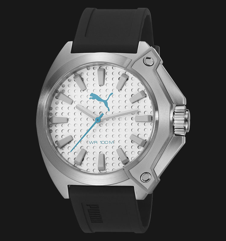 PUMA PU103811002 Zone Silver Dial Black Rubber Strap Machtwatch