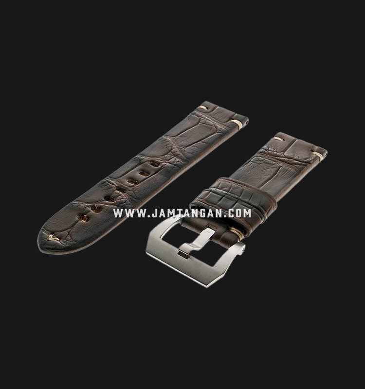 Strap Romeo Handmade in Italy 24mm Brown Leather Silver Buckle 112AH07-24X22 Machtwatch