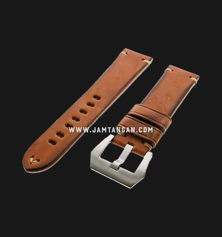 Strap Romeo Handmade in Italy 22mm Brown Leather Silver Buckle 112AI02-22X20 Machtwatch