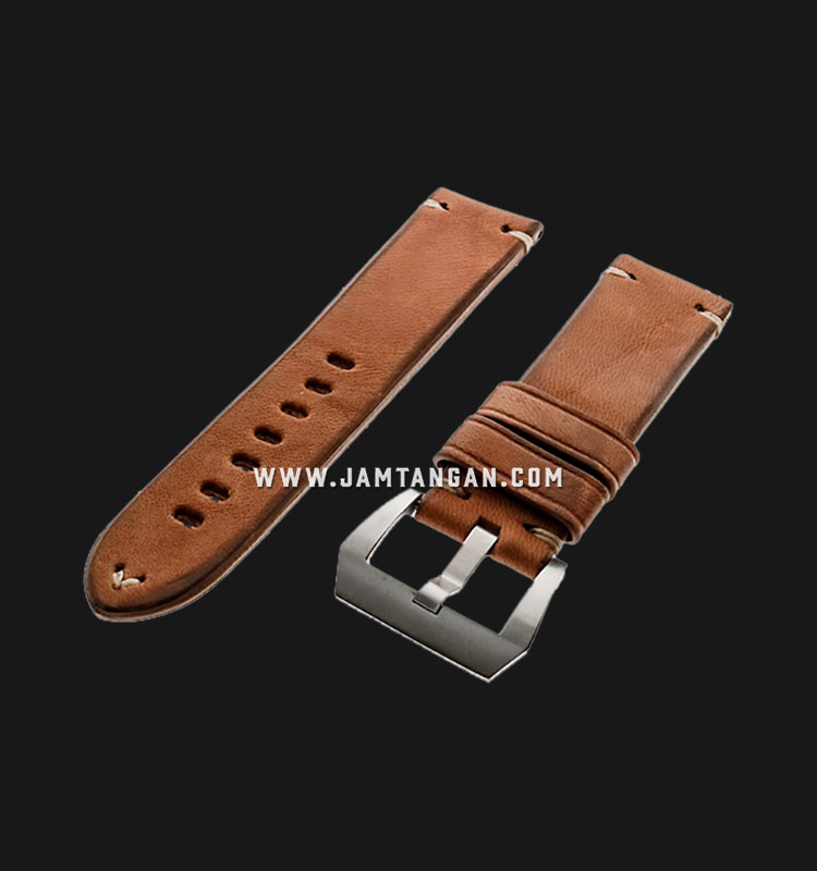 Strap Romeo Handmade in Italy 24mm Brown Leather Silver Buckle 112AI02-24X22 Machtwatch