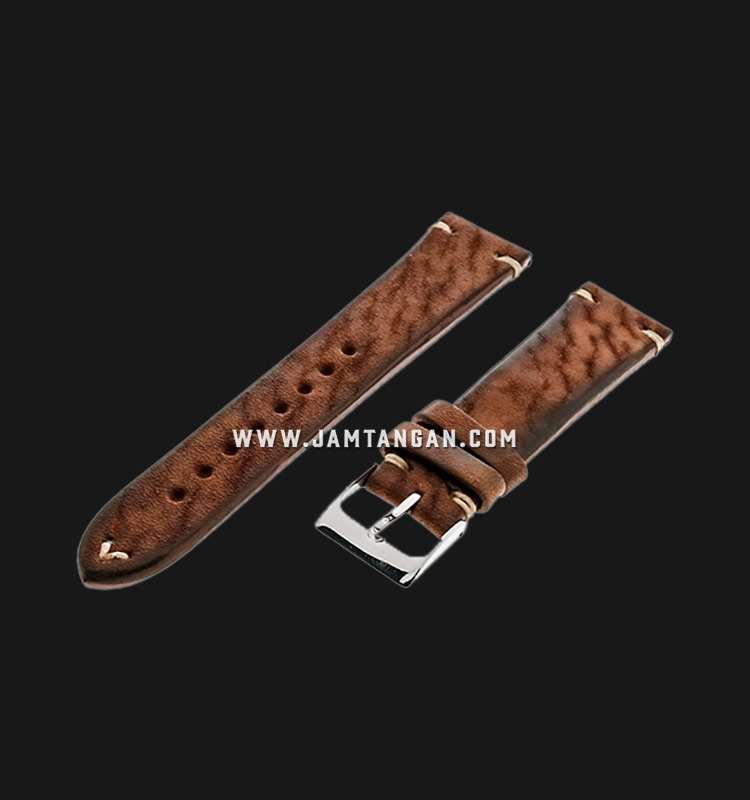 Strap Romeo Handmade in Italy 20mm Brown Leather Silver Buckle 112AI05-20X16 Machtwatch