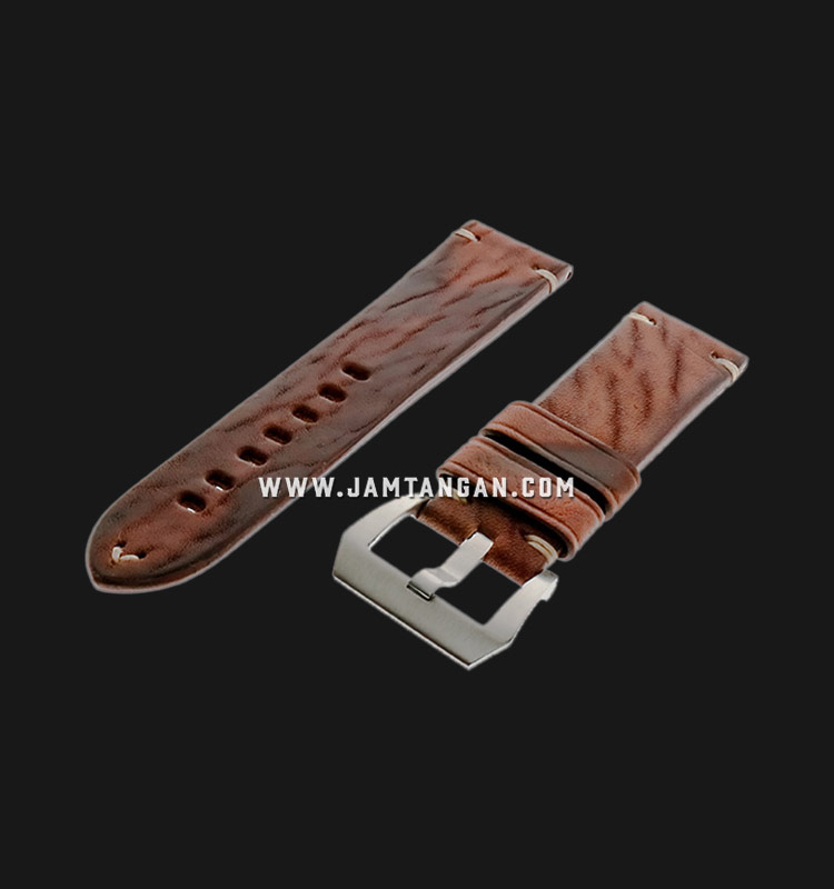 Strap Romeo Handmade in Italy 24mm Brown Leather Silver Buckle 112AI05-24X22 Machtwatch