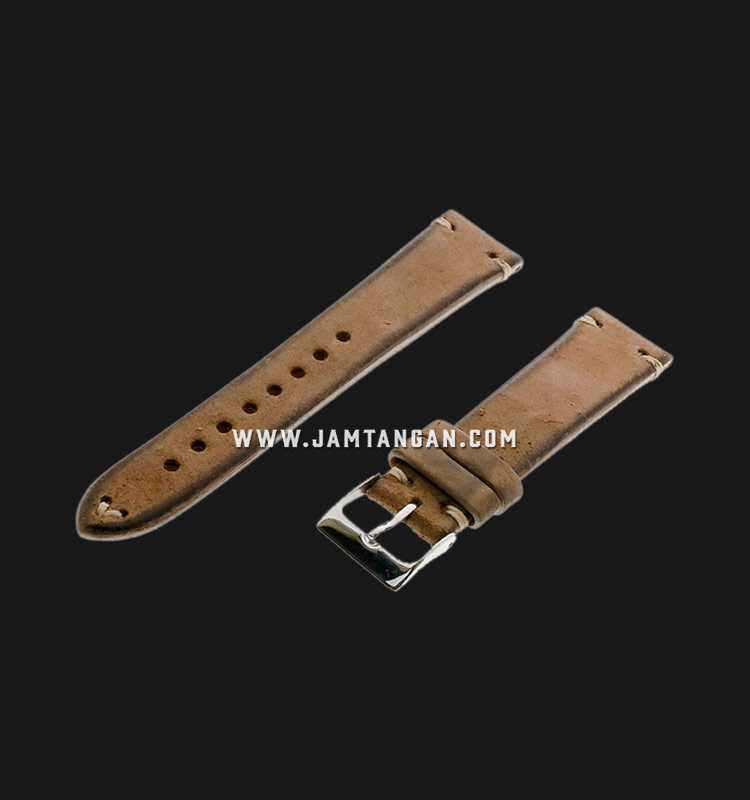 Strap Romeo Handmade in Italy 20mm Brown Leather Silver Buckle 112AI06-20X16 Machtwatch