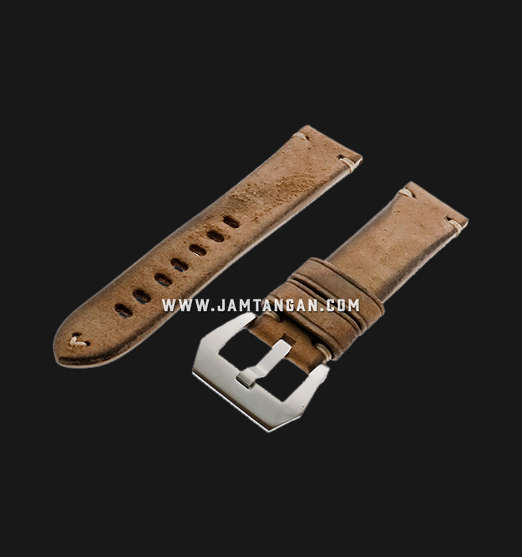 Strap Romeo Handmade in Italy 22mm Brown Leather Silver Buckle 112AI06-22X20 Machtwatch