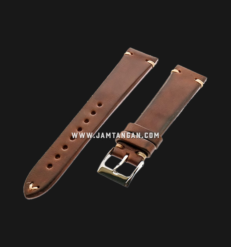 Strap Romeo Handmade in Italy 20mm Brown Leather Silver Buckle 112AI26-20X16 Machtwatch