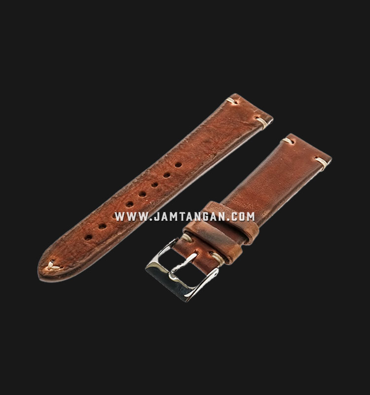 Strap Romeo Handmade in Italy 20mm Brown Leather Silver Buckle 112AK01-20X16 Machtwatch