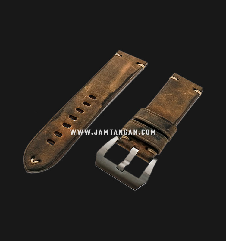 Strap Romeo Handmade in Italy 24mm Brown Leather Silver Buckle 112AK05-24X22 Machtwatch
