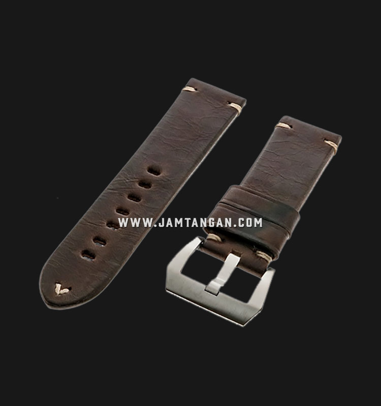 Strap Romeo Handmade in Italy 24mm Brown Leather Silver Buckle 112AK07-24X22 Machtwatch