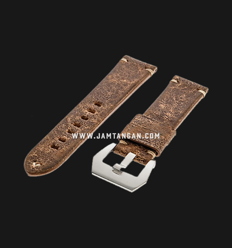 Strap Romeo Handmade in Italy 22mm Brown Leather Silver Buckle 112AK15-22X20 Machtwatch