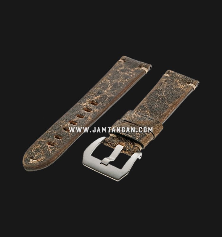 Strap Romeo Handmade in Italy 22mm Brown Leather Silver Buckle 112AK16-22X20 Machtwatch