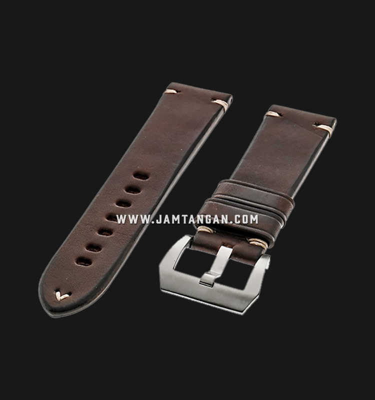 Strap Romeo Handmade in Italy 24mm Brown Leather Silver Buckle 112BD04-24X22 Machtwatch