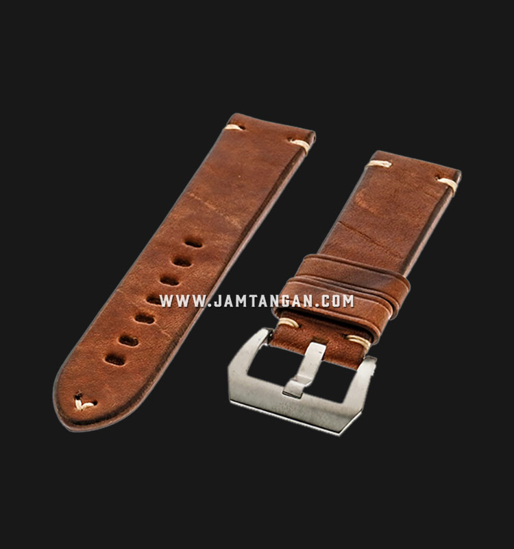 Strap Romeo Handmade in Italy 24mm Brown Leather Silver Buckle 112BD05-24X22 Machtwatch