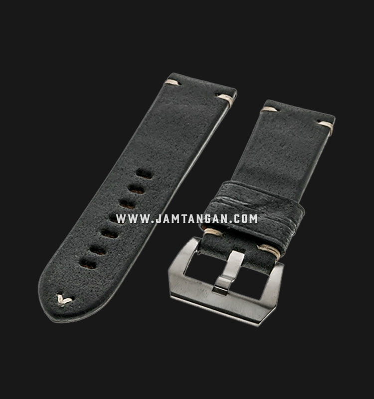 Strap Romeo Handmade in Italy 24mm Black Leather Silver Buckle 112BD12-24X22 Machtwatch