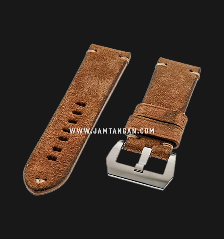 Strap Romeo Handmade in Italy 24mm Brown Leather Silver Buckle 112BD16-24X22 Machtwatch