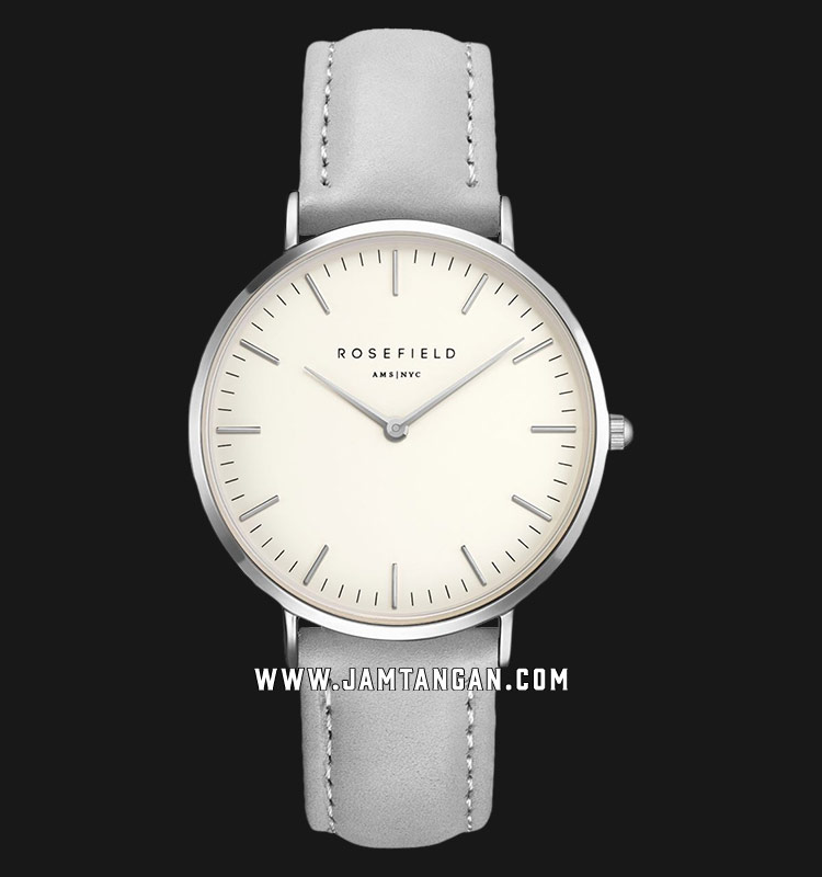 Rosefield BWGS-B10 Ladies White Dial Grey Leather Strap Machtwatch