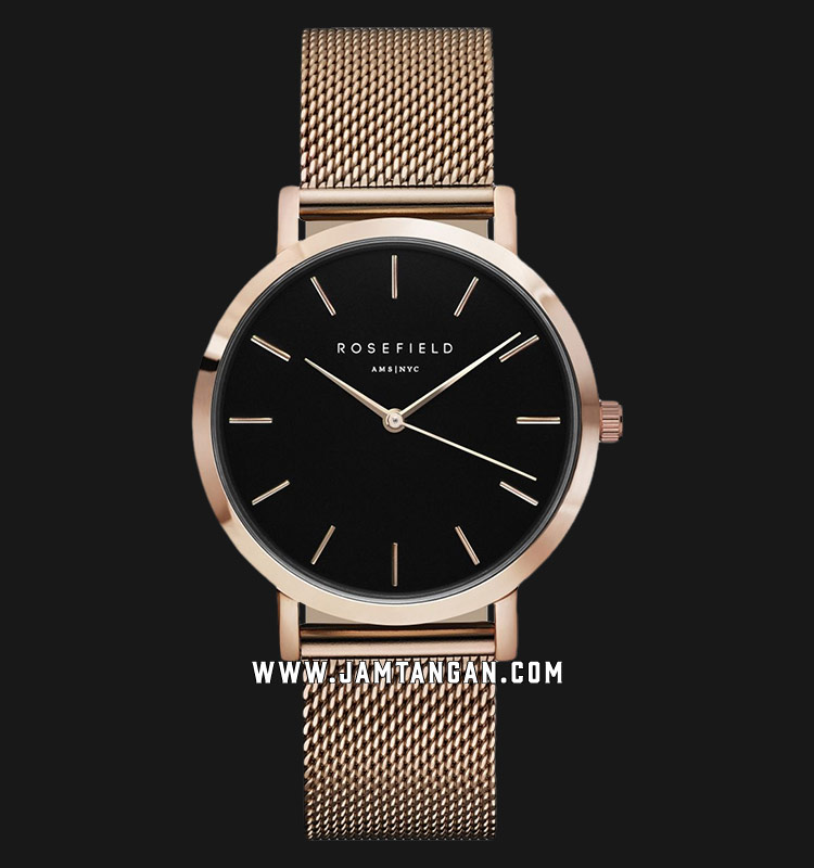 Rosefield MBR-M45 Ladies Black Dial Rose Gold Mesh Strap Machtwatch