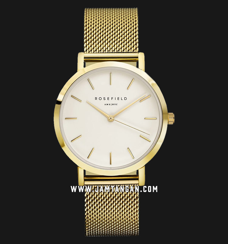 Rosefield MWG-M41 Ladies White Dial Gold Mesh Strap Machtwatch