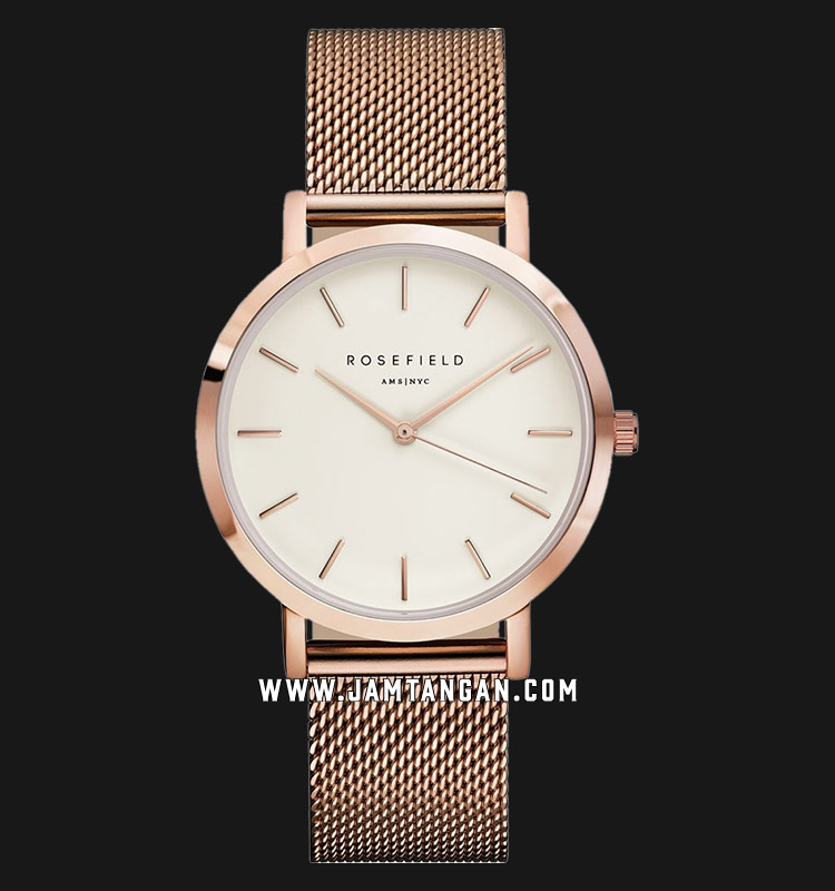 Rosefield MWR-M42 Ladies White Dial Rose Gold Mesh Strap Machtwatch